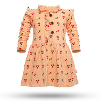 Girl's Cotton Cherry Printed Frock