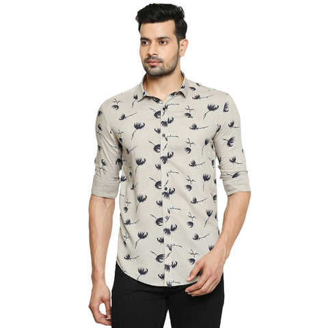 Stunning Grey Printed Cotton Slim Fit Casual Shirt For Men
