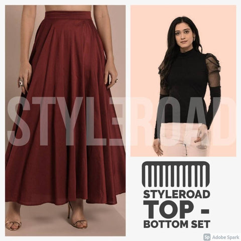 Polyester Top And Rayon Skirt Set For Women