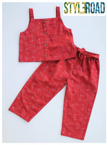 Elegant Red Cotton Printed Top Bottom Set For Girls