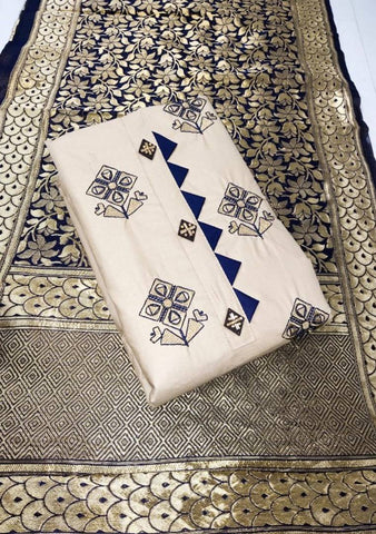 Glace Cotton Embroidered Dress Material with Printed Dupatta
