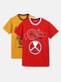 Boy's Printed Red Cotton Tees Pack Of 2
