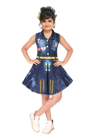 Girls Above Knee Casual Dress  (Blue, Sleeveless)