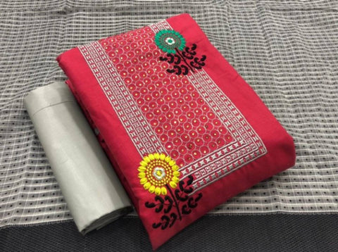 Exclusive Cotton Slub Embroidered Dress Material with Dupatta
