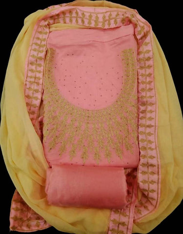 Women's Chanderi Cotton Dress Material with Dupatta