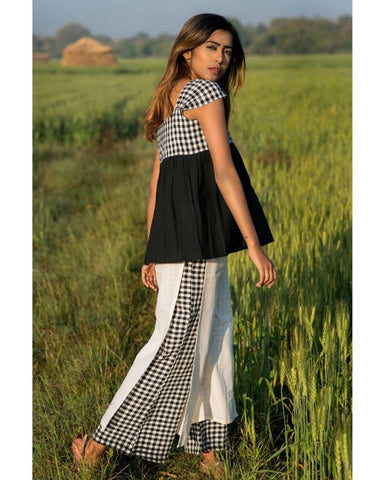 Women's Black And White Chex Linen Pant With Black Sexy Top