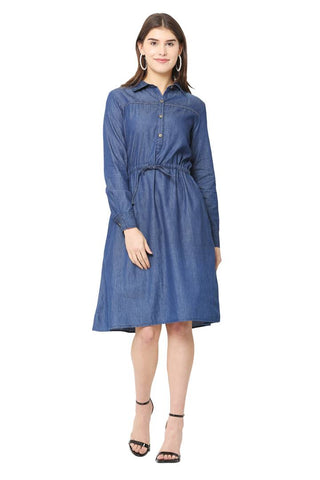 Stylish Denim Blue Solid Dress For Women