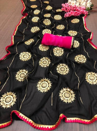 Attractive Georgette Embroidered Saree with Blouse piece - Nextztore INDIA | Store