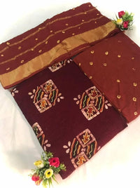 Cotton Embroidered Dress Material with Dupatta