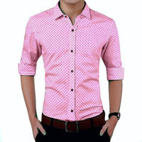 Stylish Pink Cotton Blend Printed Long Sleeves Casual Shirts For Men