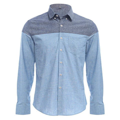 Slim Patchwork Button Design Male Long Sleeve Casual Shirt