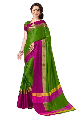 Perfectblue Cotton Silk Saree (Pb0Greenpinkviswa_Green)