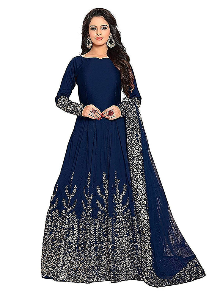 Smily Creation Women's Taffeta Silk Embroidered Long Anarkali Gown for Women (blue)