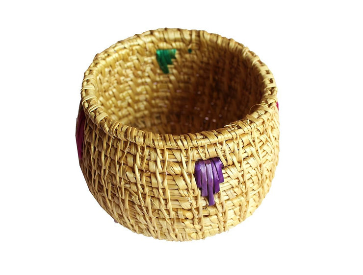 Hand Crafted Grass Open Box for Storage Showpiece (Bamboo, Gold, 10 cm)
