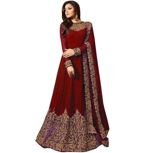 Karva Fashion Women Georgette Long Anarkali Salwar Suit/Gown With Dupatta (010maroon)
