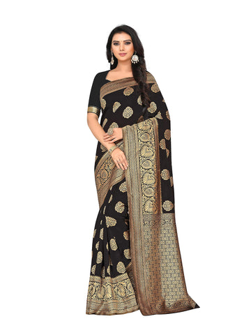 Saree Banarasi (Patola 16_Black Color_Free Size)