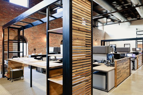 office furniture, desk, coworking, wood furniture, wood desk, architecture firm, Columbus Ohio