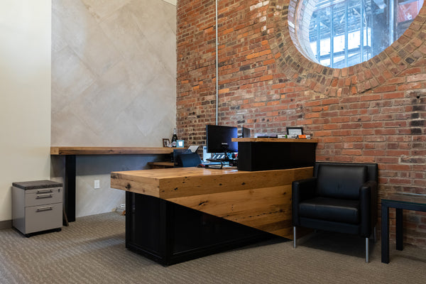 reception desk, wood desk, custom furniture, office furniture, Columbus Ohio