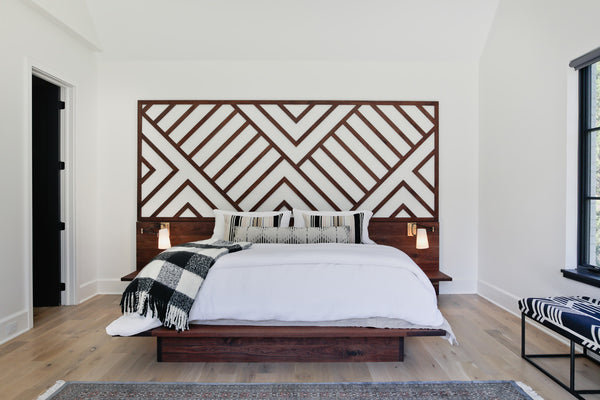 Custom walnut bed, headboard, platform bed, bedroom inspiration, custom furniture