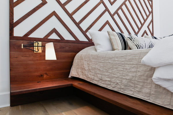 custom bed, platform bed, custom furniture, Columbus OH, walnut bed, walnut headboard, walnut nightstands
