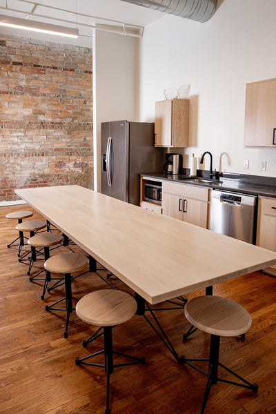 Break room table and stools by Edgework Creative, office furniture