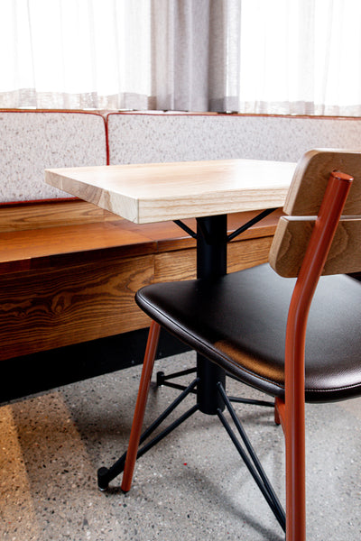 Custom restaurant tables and seating by Edgework Creative