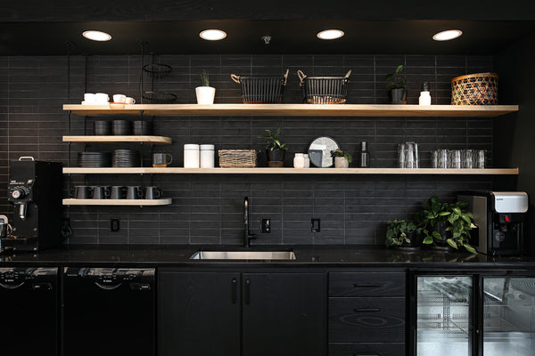 Kitchen shelving by Edgework Creative, office furniture