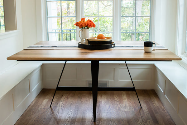 kitchen table with reclaimed top and metal base