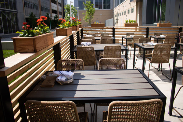 outdoor tables, restaurant tables, outdoor dining, Atlas Tavern