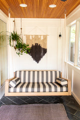 porch swing, wood swing, sustainable furniture, wood furniture