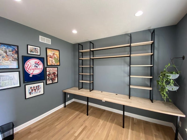 Home office desk with shelving by Edgework Creative, work from home inspiration