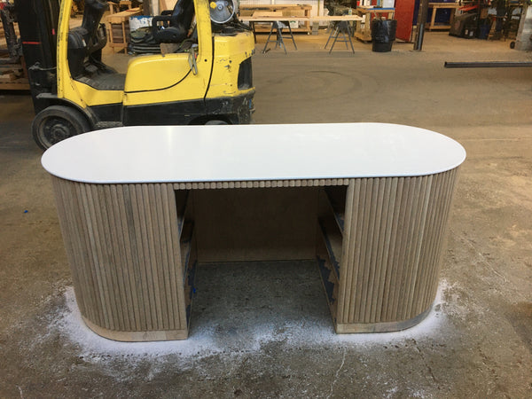 custom furniture, custom desk, reception desk, Edgework Creative
