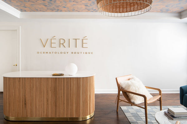 custom desk, reception desk, Edgework Creative, Verite Dermatology, Double Knot Home