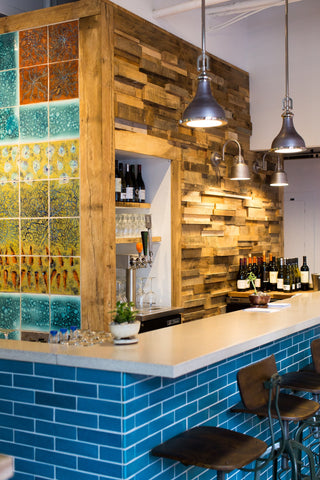 restaurant furniture, custom restaurant furniture, restaurant design, wood wall