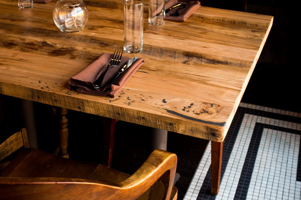 restaurant furniture, custom restaurant furniture, restaurant design, reclaimed wood table