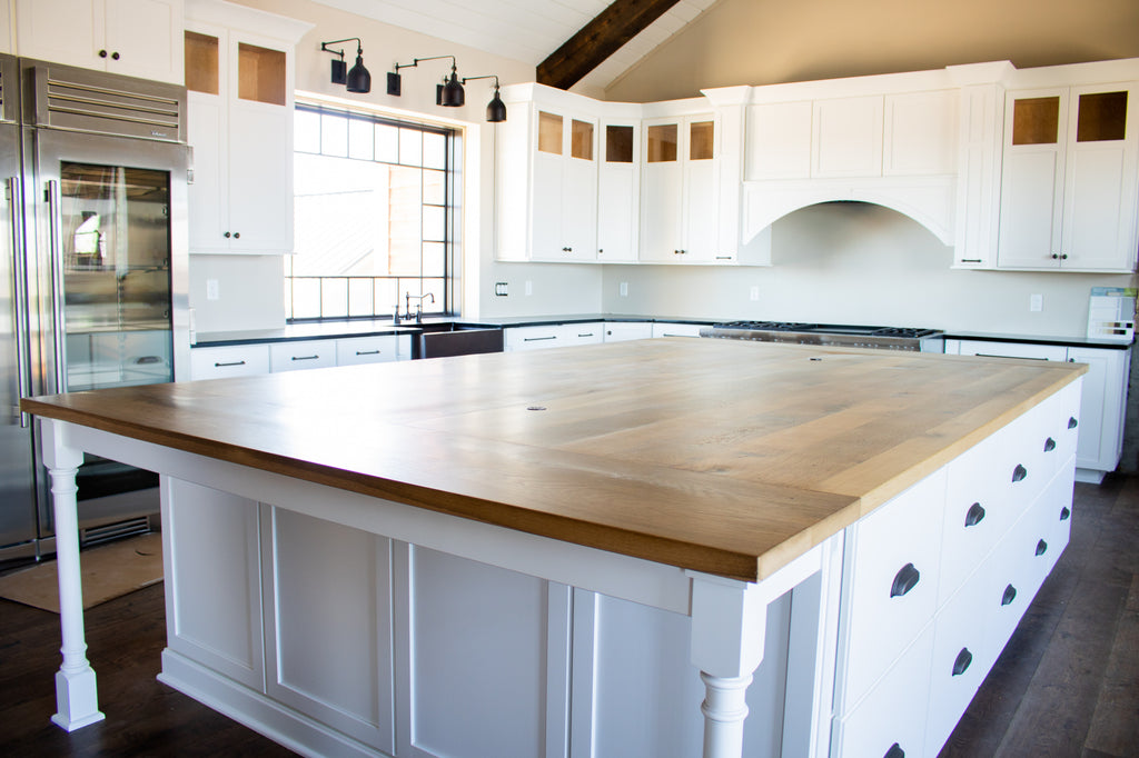 reclaimed wood countertop kitchen island - Edgework Creative