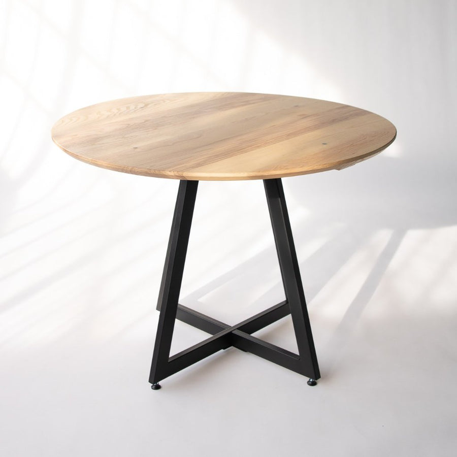 wood and metal small kitchen table