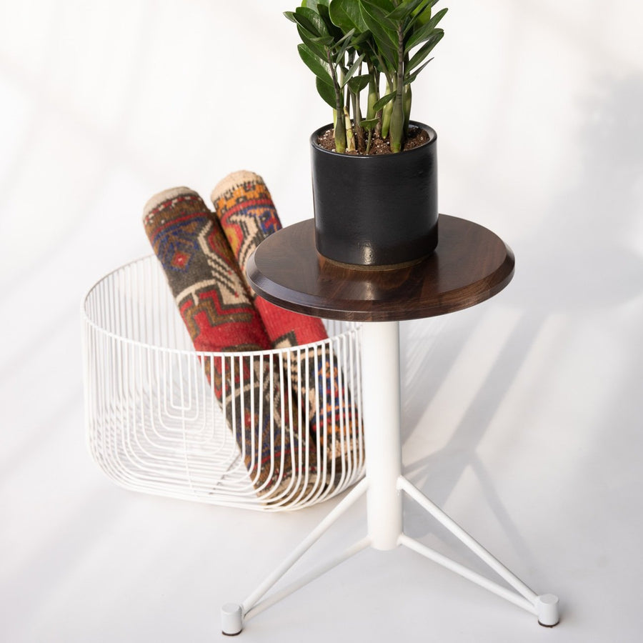 Short Wood and Metal Stool