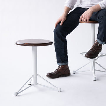 Short Walnut Stool with White Base