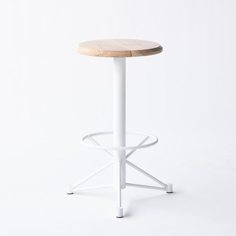 white kitchen stool with ash top