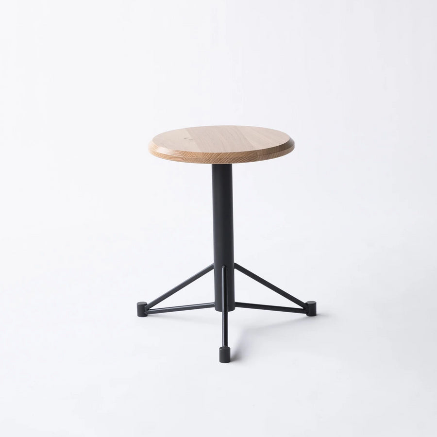 Short White Oak and Metal Stool