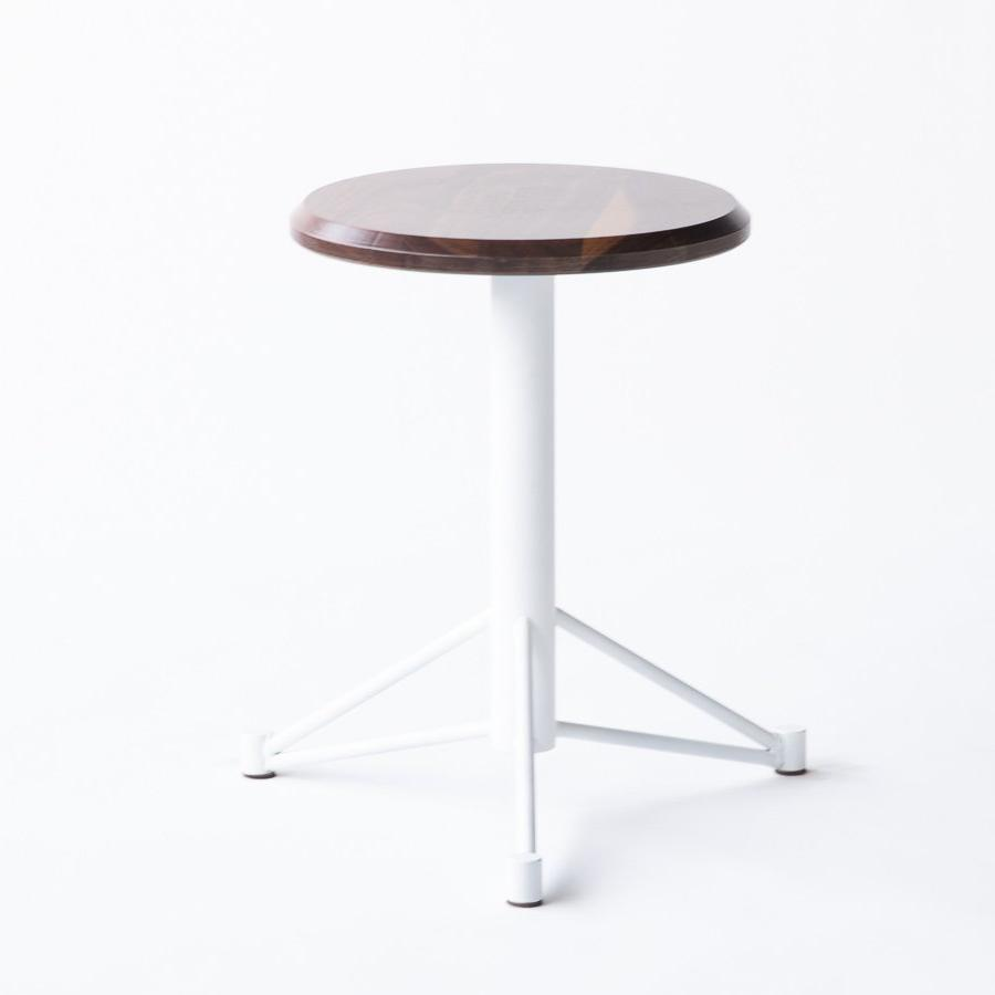 Short Walnut Stool White