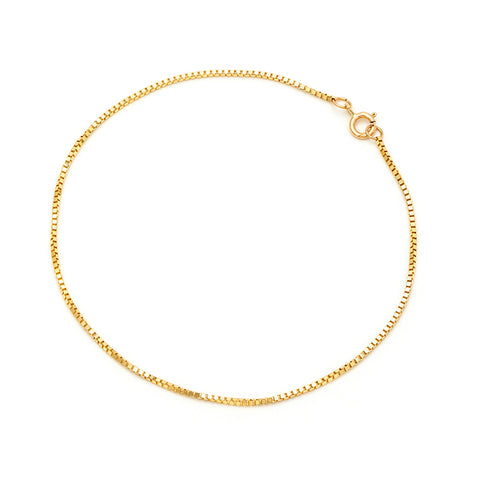 Bold Box Chain Anklet | 10K Gold
