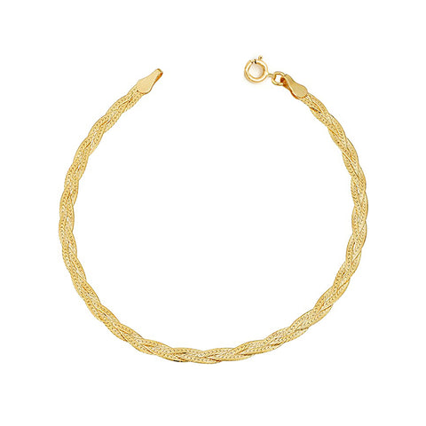 Braided Herringbone Bracelet | 10k Gold