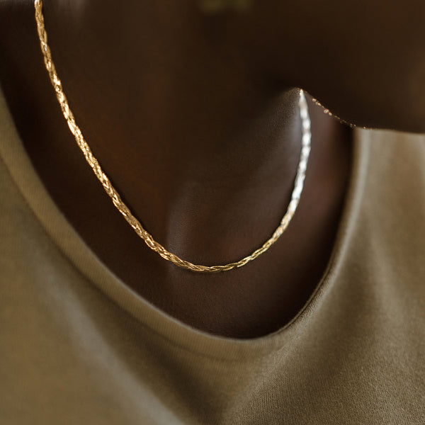 Braided Herringbone Necklace | 10k Gold