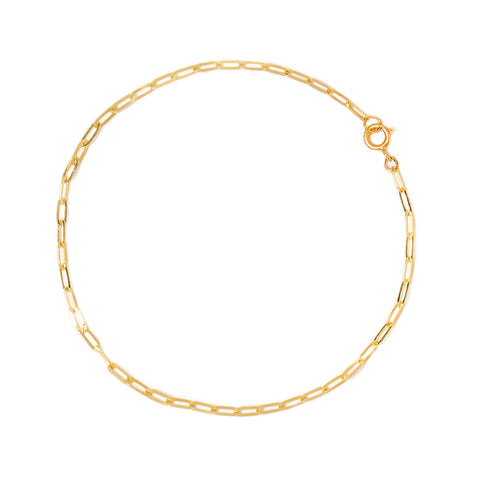 Flat Drawn Cable Anklet | 10k Gold