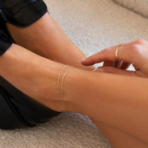 Singapore Chain Anklet | 10k Gold