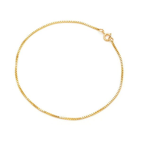 Box Chain Anklet | 14k Gold