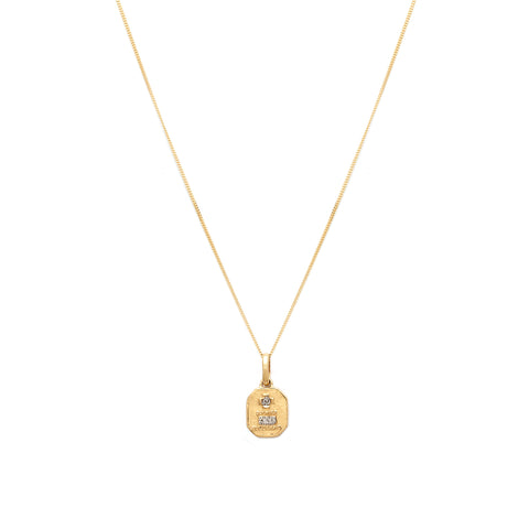 Love Token Necklace Square | 14k Gold & Diamond