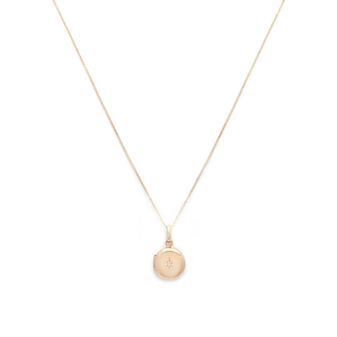 Petite Round Spark Locket | 14k Gold & Diamond
